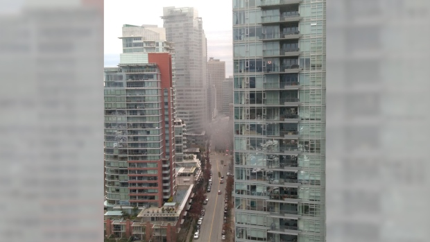 Crews fighting fire inside tunnel in downtown Vancouver