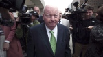 Sen. Mike Duffy leaves the courthouse after being acquitted on all charges Thursday, April 21, 2016 in Ottawa. An Ontario judge has delivered a blow to Sen. Duffy in his bid for financial restitution over his dramatic and protracted suspension without pay five years ago. (THE CANADIAN PRESS/Adrian Wyld)