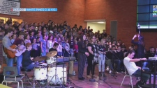 ONLINE EXCLUSIVE: Extended video of the White Pines Collegiate and Vocational School choir singing Leonard Cohen's Hallelujah with the school's band.