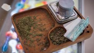 Marijuana and paraphernalia are seen at marijuana dispensary, in Vancouver on Friday, May 1, 2015.