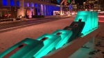Giant dominoes are part of Luminotherapy at Place des Festivals