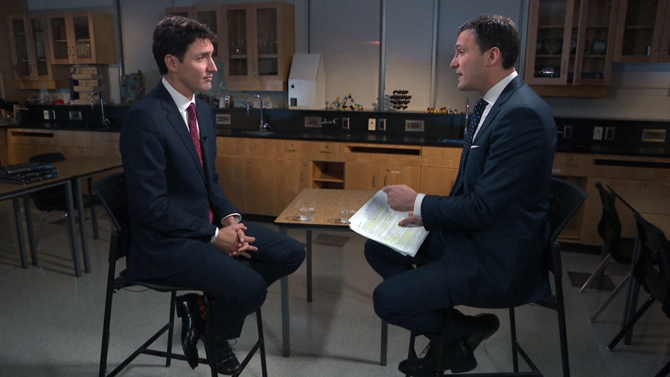 Prime Minister Justin Trudeau and Evan Solomon, host of CTV's Question Period.