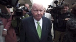 Sen. Mike Duffy leaves the courthouse after being acquitted on all charges Thursday, April 21, 2016 in Ottawa. An Ontario judge has delivered a blow to Sen. Duffy in his bid for financial restitution over his dramatic and protracted suspension without pay five years ago. THE CANADIAN PRESS/Adrian Wyld