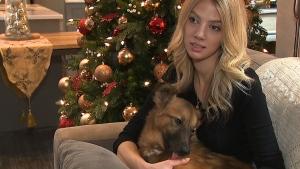 Erin Blaak holds True, a one-year-old rescue dog from Ukraine. (CTV Toronto)