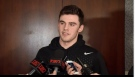 Liam Foudy of the London Knights talks to media following his cut from Canada's world junior hockey squad.