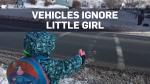 At least six vehicles drove through the crosswalk
