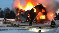 Huntsville fire crews battle a blaze at a farmhouse in Huntsville on Saturday December 15, 2018 (Courtesy: Huntsville Fire Dept.)