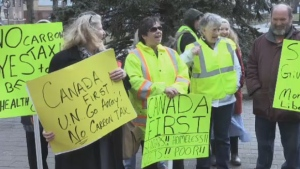 A small but vocal group of demonstrators clad in reflective yellow vests met outside of Halifax City Hall on Saturady, calling on all levels of government to listen to their concerns.