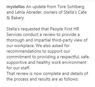 Stella's statement Dec. 15