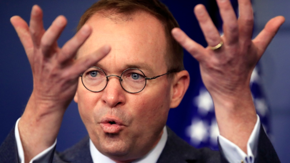 In this March 22, 2018, file photo, then-Office of Management and Budget Director Mick Mulvaney speaks in the Brady press briefing room at the White House in Washington. U.S. President Donald Trump has since named Mulvaney as his acting chief of staff. (AP Photo/Manuel Balce Ceneta)