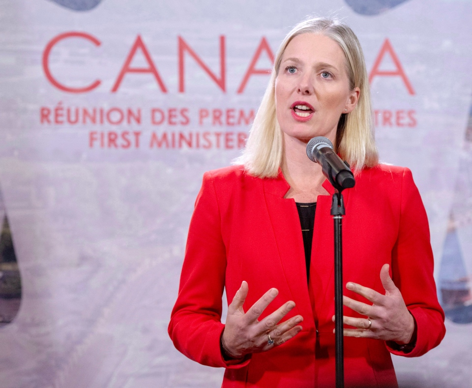 Federal Environment Minister Catherine McKenna speaks to the media at the First Ministers conference, Friday, December 7, 2018 in Montreal. (THE CANADIAN PRESS/Ryan Remiorz)