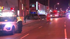 Emergency crews attend to the scene of a collision and natural gas leak on Danforth Ave., on Saturday, Dec. 15, 2018.