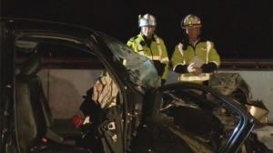 Two-vehicle crash closes section of Highway 401 in Milton | CTV News