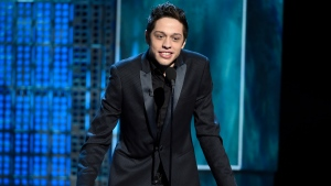 In this March 14, 2015, file photo, Pete Davidson speaks at a Comedy Central Roast at Sony Pictures Studios in Culver City, Calif. (Photo by Chris Pizzello/Invision/AP, File)