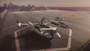 Vertical takeoff and landing craft (VTOLs), like this model from Uber, could be shuttling passengers from airports to downtown vertiports by the mid-2020s, according to reports and the dozen or so companies striving to build the first generation of flying cars. (THE CANADIAN PRESS/HO-Uber)