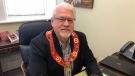 Orangeville's new mayor, Sandy Brown, wears the chain of office for the first time since being sworn-in. (CTV Barrie/Beatrice Vaisman)