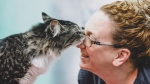 A cat is named Baloo nuzzles with a vet technician in a handout photo from the Montreal SPCA. (THE CANADIAN PRESS/HO-Montreal SPCA)