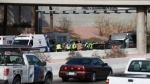The scene of a bus crash in Las Vegas, Nevada, carrying the Alberta Cheer Empire cheerleading team from Edmonton. (CTV)