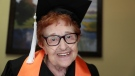 In this Dec. 10, 2018 photo, Janet Fein, 84, poses for a photo in Richardson, Texas. Fein completed her bachelor's degree and will graduate from the University of Texas at Dallas with the winter undergraduate class. (AP Photo/LM Otero)