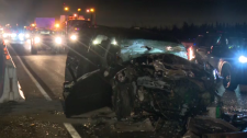 Crash on the 401 in Milton sends two people to hospital. (CTV Toronto)