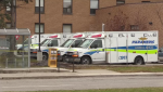 Ambulances parked at Cambridge Memorial Hospital.