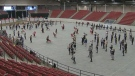 Nearly 200 members of the Calgary Stampede Showband held a special rehearsal on Sunday ahead of the group's performance at the Rose Parade on January 1, 2019.