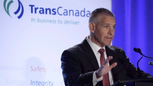 TransCanada Corp. president and CEO Russ Girling addresses the company's annual meeting in Calgary, Friday, April 27, 2018.THE CANADIAN PRESS/Jeff McIntosh
