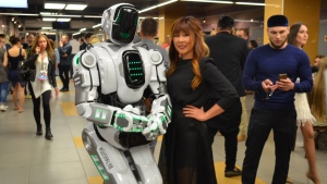 A person inside an Alyosha robot suit from Russian company Show Robots poses for a photograph in this publicity photo. (Show Robots)