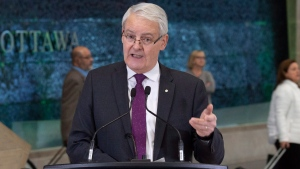 Passengers arriving at the airport walk past Transport Minister Marc Garneau as he speaks about passenger rights during a news conference at the airport in Ottawa, Monday, Dec. 17, 2018. (THE CANADIAN PRESS/Adrian Wyld)