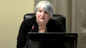 Kathy Dunderdale, former premier of Newfoundland and Labrador, testifies at a Muskrat Falls inquiry, Monday, Dec. 17, 2018.