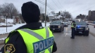 Police conduct a RIDE program in Barrie, Ont. during the holiday season 2018 (CTV News)