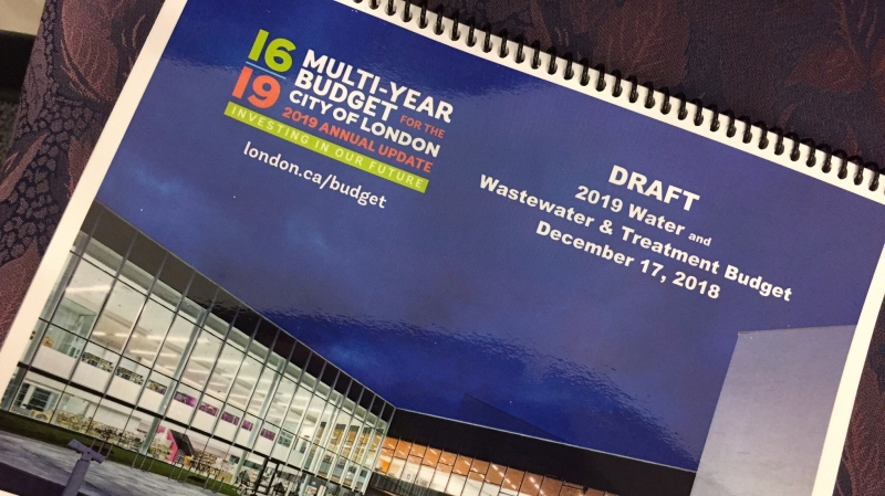The draft 2019 budget, the last of the multi-year budgets, is seen in London, Ont. on Monday, Dec. 17, 2018. (Daryl Newcombe / CTV London)