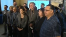 First Nations, political, and industry leaders at the December 17, 2018 announcement in Calgary of five new southern Alberta wind farms