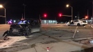 Two vehicles after a crash in New Hamburg. (Terry Kelly / CTV Kitchener)