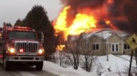 Domaine Eastman was destroyed in a fire. Image and video courtesy: La Tribune/Jean-Francois Gagnon