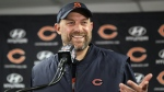 In this Sunday, Nov. 18, 2018 file photo, Chicago Bears head coach Matt Nagy speaks at a news conference after an NFL football game against the Minnesota Vikings in Chicago. (AP Photo/Nam Y. Huh, File)