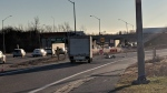 The highway 401 westbound ramp from King Street was closed Dec. 18, 2018 after a cyclist was struck. (@martaczurCTV)