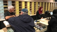 Nearly empty shelves greet customers at a Quebec cannabis store Thursday, December 13, 2018 in Montreal. (THE CANADIAN PRESS/Ryan Remiorz)