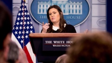 White House press secretary Sarah Huckabee Sanders speaks to the media during the daily press briefing at the White House, Tuesday, Dec. 18, 2018, in Washington. Sanders discussed the delayed sentencing for former national security adviser Michael Flynn and other topics. (AP / Andrew Harnik)