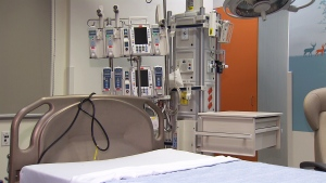 Equipment is seen in an empty room at BC Children's Hospital in Vancouver.