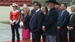 Premier Notley, Mayor Nenshi and Calgary Stampede president David Sibbald at the BMO Centre expansion announcement on December 18, 2018
