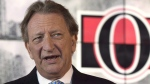 The battle between Ottawa Senators owner Eugene Melnyk and business partner John Ruddy over a proposed new downtown arena has escalated. Ottawa Senators owner Eugene Melnyk speaks with the media in Ottawa on Sept. 7, 2017. THE CANADIAN PRESS/Adrian Wyld