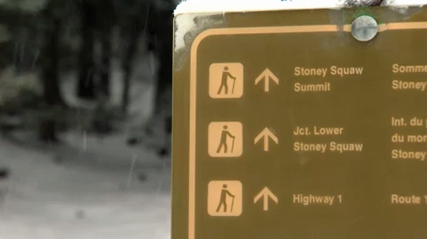 Parks Canada sign with directions to Stoney Squaw