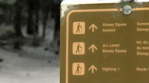 Parks Canada sign with directions to Stoney Squaw (file)