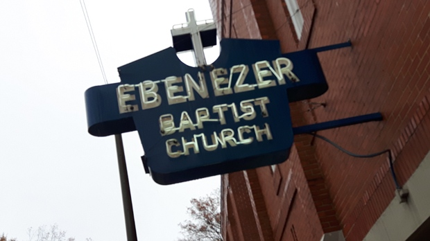Ebenezer Baptist Church sign in Atlanta, Georgia (photo: Ian White)