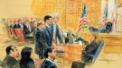 This courtroom sketch depicts former President Donald Trump's former national security adviser Michael Flynn, standing center, flanked by his lawyers, listening to U.S. District Judge Emmet Sullivan, right, as he addresses Flynn and points to the American flag inside the federal court in Washington, Washington, Tuesday, Dec. 18, 2018. Sullivan agreed to postpone Flynn's sentencing so he can continue cooperating with the Russia probe. Flynn's wife Lori Andrade, back left, and son Michael Flynn Jr., with red tie, listen. (Dana Verkouteren via AP)