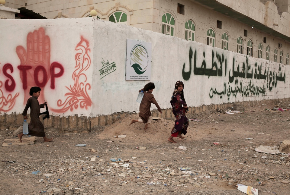 Children play at a rehabilitation center for former child soldiers in Marib, Yemen, in this July 28, 2018, photo. (AP Photo/Nariman El-Mofty)