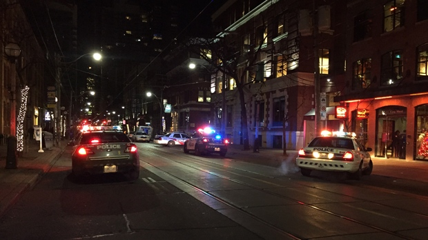 Police are investigating a double shooting near the Entertainment District that left one male dead. (Michael Nguyen/ CP24)