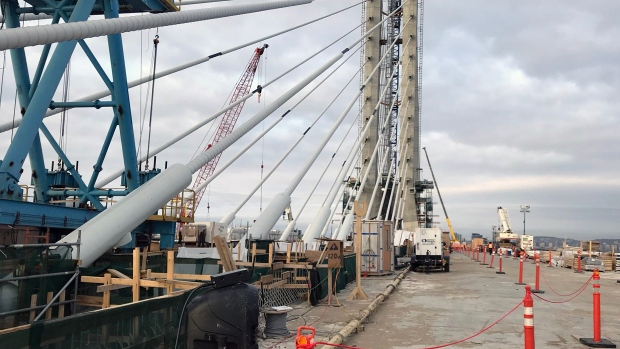 A 170-metre tall tower looms over the unfinished deck of the Samuel de Champlain bridge (CTV Montreal/Matt Grillo)