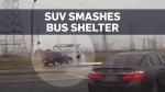 Caught on cam: SUV crashes through bus shelter